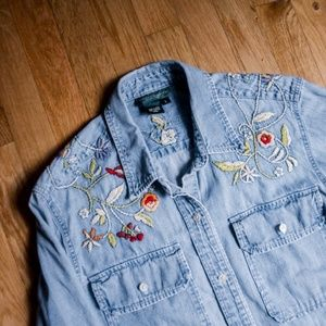 90s Embroidered Floral Denim Button Down